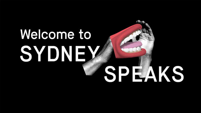 Image shows a mouth and words welcome to Sydney speaks