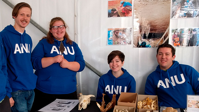Image shows students in blue ANU hoodie jumpers