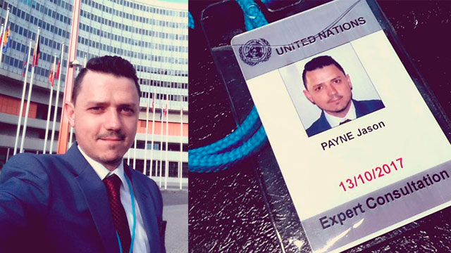 composite image of Dr Payne outside UN Vienna building and UN expert pass