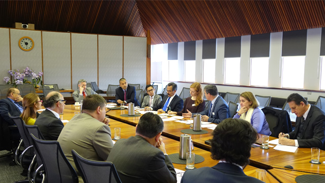 Image shows ANIP and ANCLAS officials with Latin American diplomats at ANU