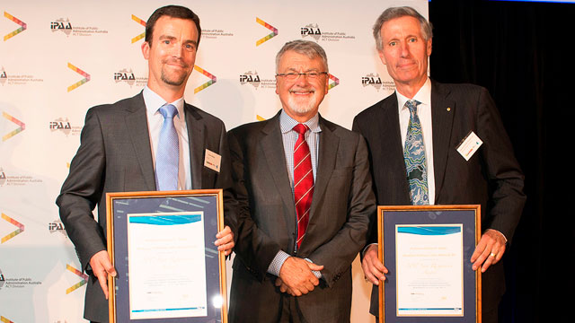Image shows from left Darren Halpin, Peter Shergold, and John Warhurst with their awards