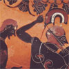 Ancient mediterranean art showing black-figure warriors