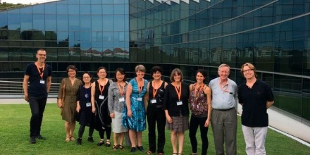 ANU and NTU scholars in the grounds of the NTU Singapore campus for their 2017 research symposium