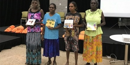 Binjari women authors from L to R: Maureen Hodgson, Karen Manbulloo, Stella Raymond and Marilyn Frith. Image supplied.