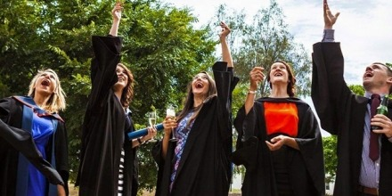 The first cohort of ANU Bachelor of Criminology graduates and their lecturer, Dr Emmeline Taylor (far left), celebrate in December 2015; Image: Supplied