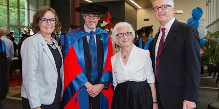 Jacqueline Dwyer with the College Dean, Professor Paul Pickering, Jacqueline's son Dominic and his wife Megan.