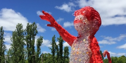 Claire Tracey created the work from hundreds of cleaned bottles, some of which she had found in storm water traps around Canberra.