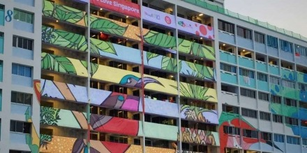 Artist and ANU Alumnus, Tan Haur, brought colour to this residential tower. Photo by The Straits Times, 8/8/2015.