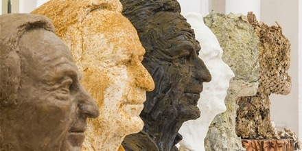 Works by Brian Evans, who created sculptures of his father's head from memory.