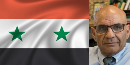 Flag of Syria and Professor Amin Saikal. Composite images from Flickr and Stuart Hay/ANU