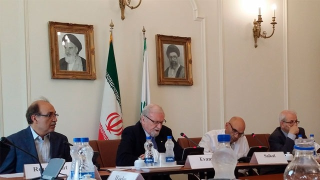 ANU Chancellor, Prof Gareth Evans (second from left) and Prof Amin Saikal (second from right) led the Australia-Iran Dialogue in Teheran.