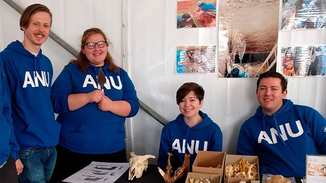 The ANU School of Archaeology and Anthropology display was among the hits of the CASS Hub marquee in 2017