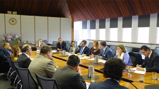 ANIP and ANCLAS officials and Latin American diplomats meet at ANU to discuss the new research project.