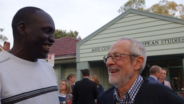 PhD candidate Atem Atem (left) and Professor Stephen Castles of University of Sydney at an ANU Centre for European Studies function