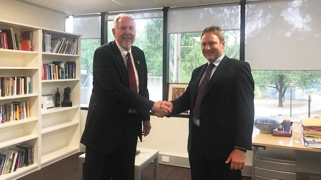 Asia Foundation Senior Vice President Gordon Hein (left) and Professor Matthew Gray, Director of the ANU Centre for Social Research, reached the agreement in December 2017. Image: Asia Foundation