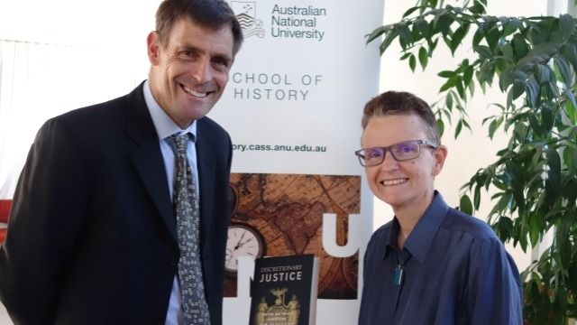 Professor Nicholas Brown, Head of the School of History, with Dr Carolyn Strange, for the launch Dr Strange's Discretionary Justice: Pardon and Parole in New York from the Revolution to the Depression.