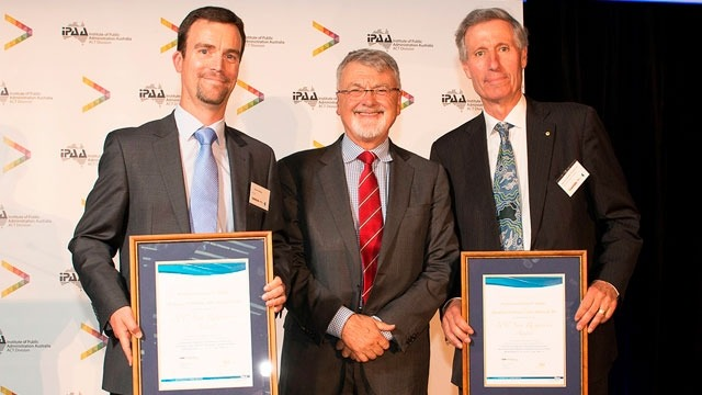 From left, Professor Darren Halpin, Professor Peter Shergold (National President of IPAA), and Emeritus Professor John Warhurst. Image courtesy: IPAA