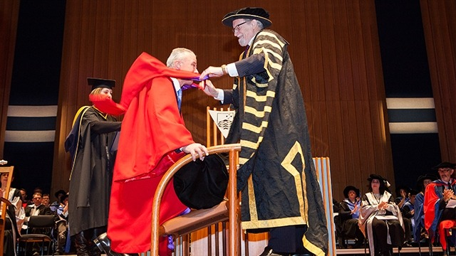 Dr Brendan Nelson receives his Honorary Doctorate. Image: Stuart Hay, ANU
