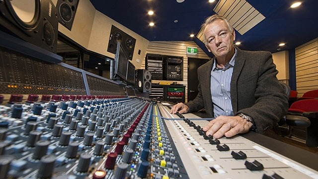 Mark Opitz at the new state-of-the-art music recording studio at the ANU School of Music. Image: Stuart Hay, ANU