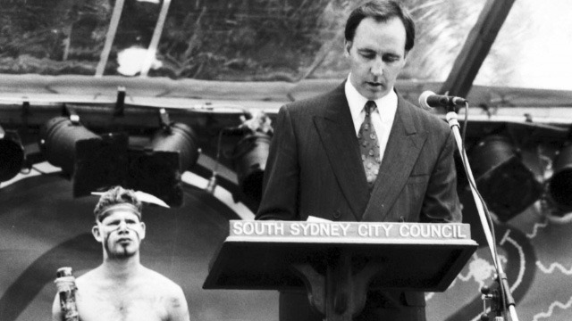 Paul Keating delivering the 1992 'Redfern Speech', one of the ways his government sought to shape Australia's image. Image: National Archives of Australia