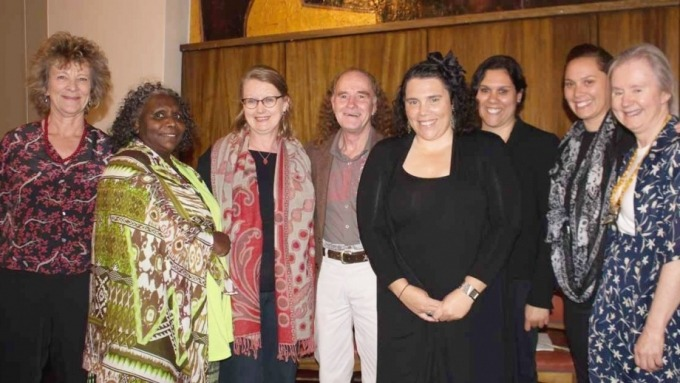 Members of the ARC Centre of Excellence in the Dynamics of Language, Glen Freeman and the sister group Biliirr at the CASS Reconciliation lecture.