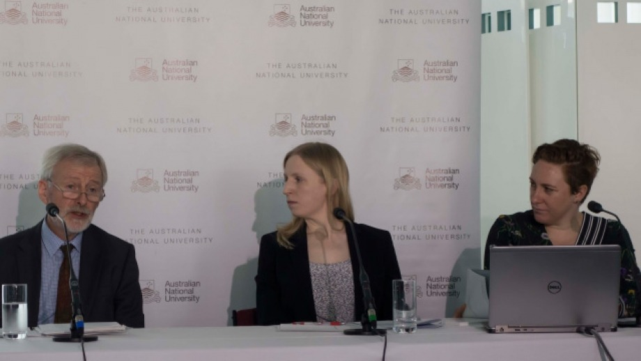 From left, study authors Professor Ian McAllister, Sarah Cameron, and Dr Jill Sheppard, at the launch in Parliament House, Canberra